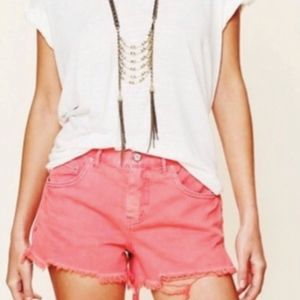 Free People Pink Denim Cut off Shorts Size 25
